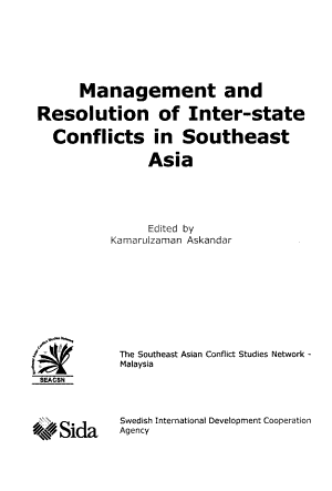 Management and Resolution of Inter state Conflicts in Southeast Asia PDF