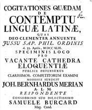 Cogitationes quaedam de contemptu linguae latinae PDF