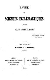 Revue des sciences ecclésiastiques: Volume7