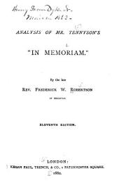 "Analysis of Mr. Tennyson's ""In Memoriam."""