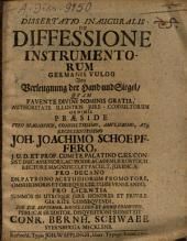 Dissertatio Inauguralis De Diffessione Instrumentorum Germanis Vulgo Von Verleugnung der Hand und Siegel