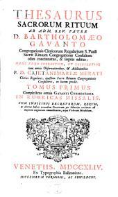 Thesaurus sacrorum rituum: Volume 1