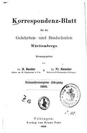 Correspondenz Blatt f  r die Gelehrten  und Real Schulen W  rttembergs PDF