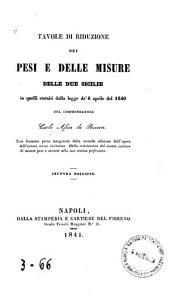Tavole di riduzione dei pesi e delle misure delle Due Sicilie in quelli statuiti dalla legge de' 6 aprile del 1840
