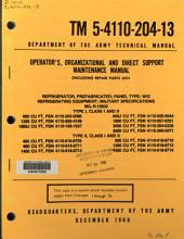 Operators, organizational and direct support maintenance manual (including repair parts list): refrigerator, prefabricated; panel type; w/o refrigerating equipment; military specifications MIL-R-10932, Type I, Class I and II, 600 cu ft, FSN 4110-269-5096 ... Type II, Class I and II ... 1600 cu ft, FSN 4110-618-8714