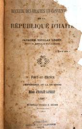 Recueil des traités et conventions de la république d'Haïti