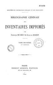 Bibliographie générale des inventaires imprimés: Volume2