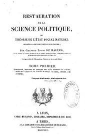 Restauration de la science politique ou Théorie de l'Etat social naturel