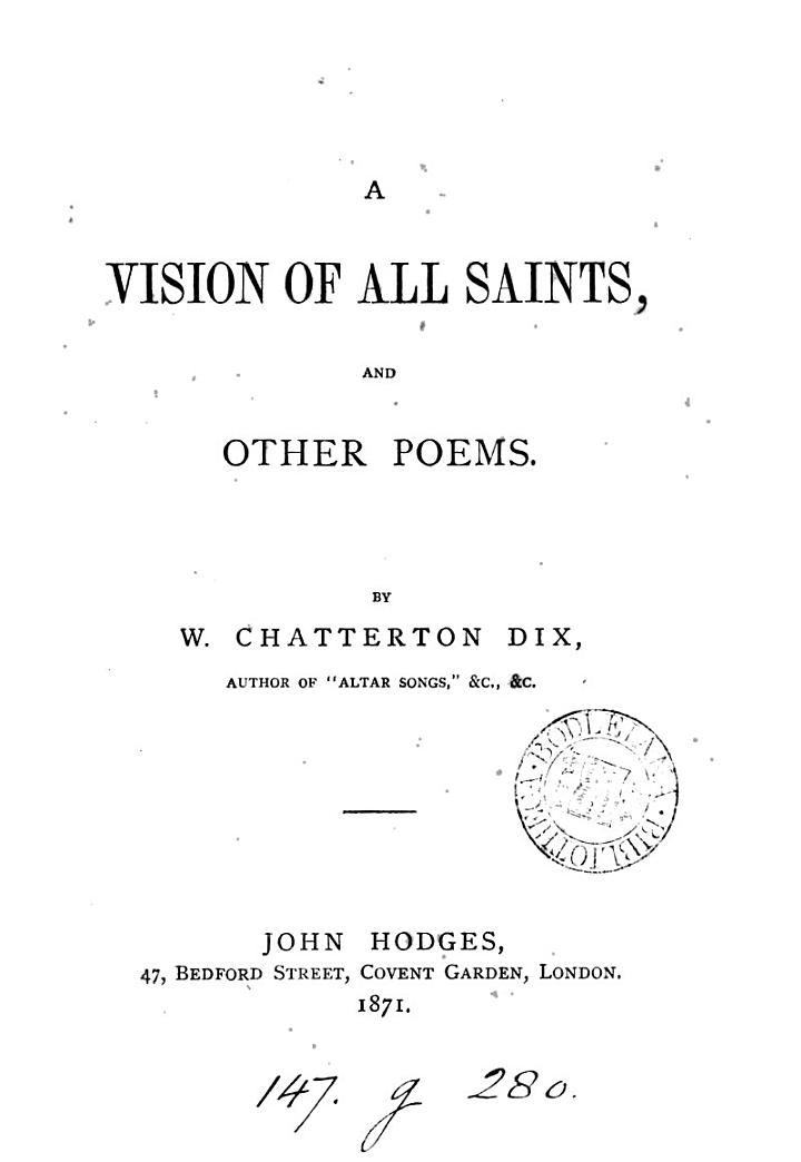A Vision of All Saints, and Other Poems