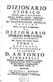 Dizionario storico continente quanto vi ha di più notabile nella storia sacra, profana, antica e moderna d'Italia: Volume 1