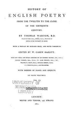 History of English Poetry from the Twelfth to the Close of the Sixteenth Century PDF