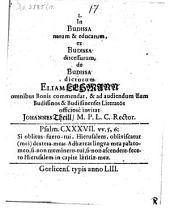 L. In Budissa natum & educatum ... Eliam Lehmann ... commendat ...