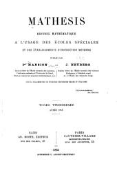 Mathesis: recueil mathématique, Volume3