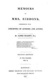 Memoirs of Mrs. Siddons, 2