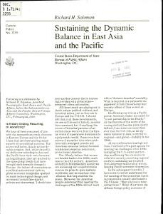 Sustaining the Dynamic Balance in East Asia and the Pacific PDF