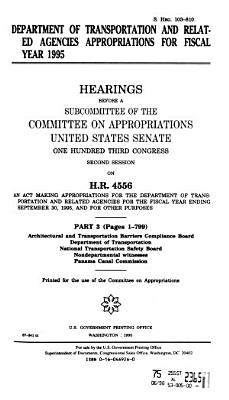 Department of Transportation and Related Agencies Appropriations for Fiscal Year 1995 PDF