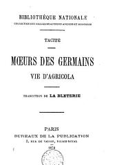 Moeurs des Germains ; Vie d'Agricola