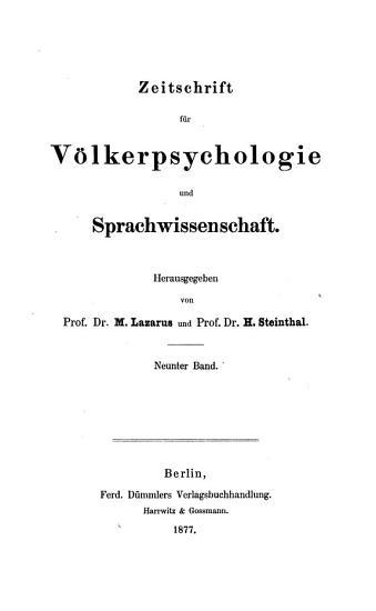 Zeitschrift f  r V  lkerpsychologie und Sprachwissenschaft PDF