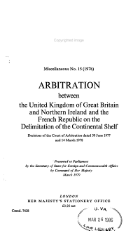Arbitration Between the United Kingdom of Great Britain and Northern Ireland and the French Republic on the Delimitation of the Continental Shelf PDF