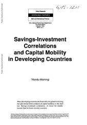 Savings-investment Correlations and Capital Mobility in Developing Countries: Issue 1211