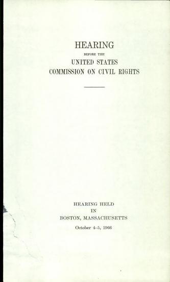 Hearing  s  Held in Boston  Massachusetts  October 4 5  1966 PDF