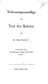 Verbesserungsvorschläge zum Text des Babrios. [From the Latin.]