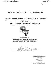 Draft environmental impact statement for the West Desert Pumping Project
