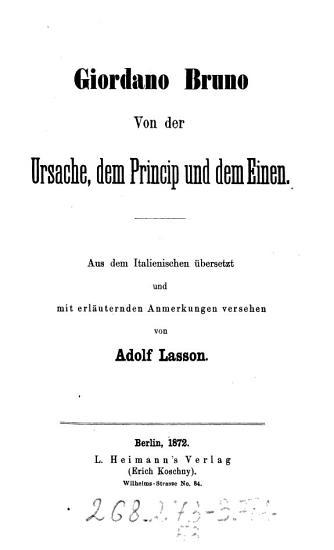 Von der Ursache  dem Princip und dem Einen PDF