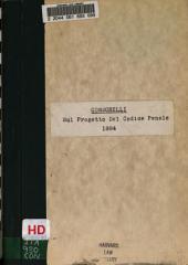 Sul Progetto del Codice penale: Libro primo, parte II presentato alla Camera dei deputati il 26 novembre 1883