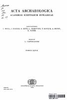 Acta Archaeologica Academiae Scientiarum Hungaricae PDF