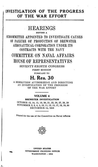 Investigation of the Progress of the War Effort  Brewster investigation PDF