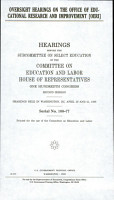 Oversight Hearings on the Office of Educational Research and Improvement  OERI  PDF