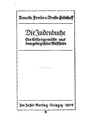 Die Judenbuche: ein Sittengemalde aus dem gebirgichten Westfalen