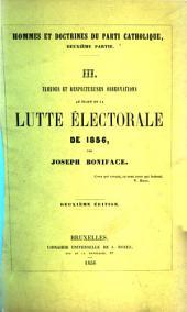 Timides et respectueuses observations au sujet de la lutte électorale de 1856