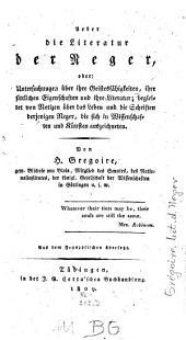 Über die Literatur der Neger ...