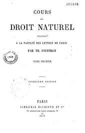 Cours de droit naturel prefacé à la faculté des lettres de Paris