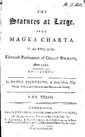 Statutes at Large ...: (43 v.) ... From Magna charta to 1800