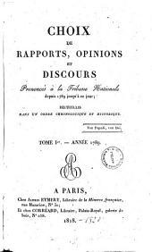 Choix de Rapports, Opinions et Discours