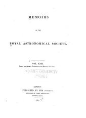 Memoirs of the Royal Astronomical Society: Volume 31