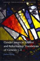 Gender Issues in Ancient and Reformation Translations of Genesis 1 4 PDF