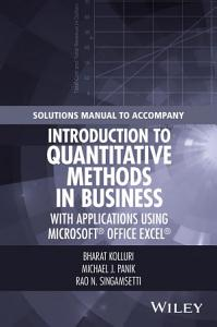 Solutions Manual to Accompany Introduction to Quantitative Methods in Business  with Applications Using Microsoft Office Excel PDF