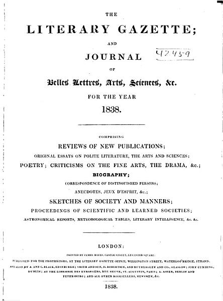 Download Literary Gazette and Journal of Belles Lettres science  and Art Book