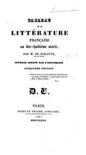 De la littérature française pendant le dix-huitième siècle ... Quatrième édition, revue et augmentée d'une préface