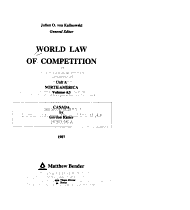 World Law of Competition  North America  v 1 3  PDF