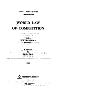 World Law of Competition  North America  v 1 3