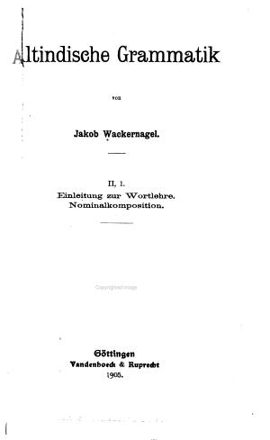 Altindische Grammatik PDF