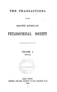The Transactions of the South African Philosophical Society PDF