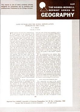 Land Hunger and the Rural Depopulation Problem in the U S S R  PDF