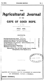 Agricultural Journal of the Cape of Good Hope: Volume 23