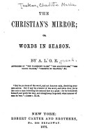 The Christian s Mirror  Or  Words in Season PDF